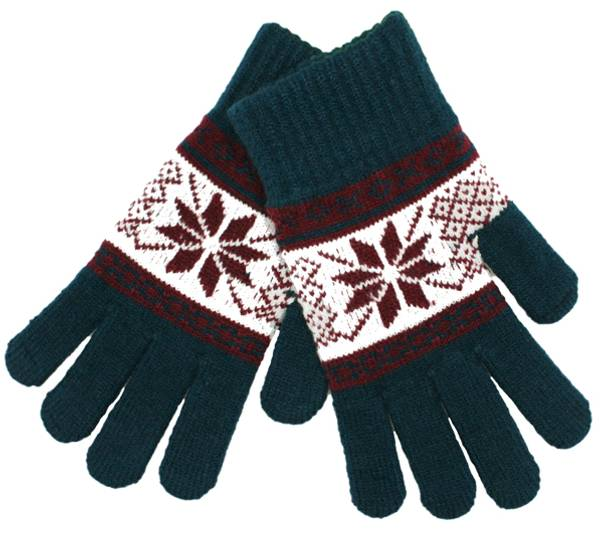 Image of Knitted gloves with star pattern petrol/burgundy