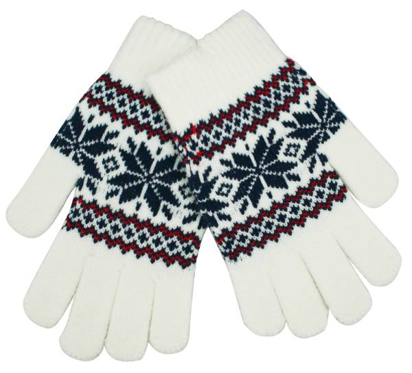 Image of Knitted gloves with star pattern white/blue/red