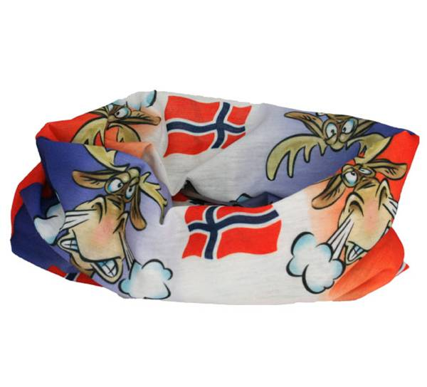 Image of Neck gaiter with angry moose and flag,