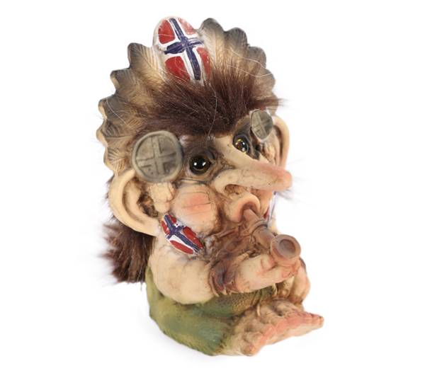 Image of Troll with peace pipe, flag, (Troll # 025)