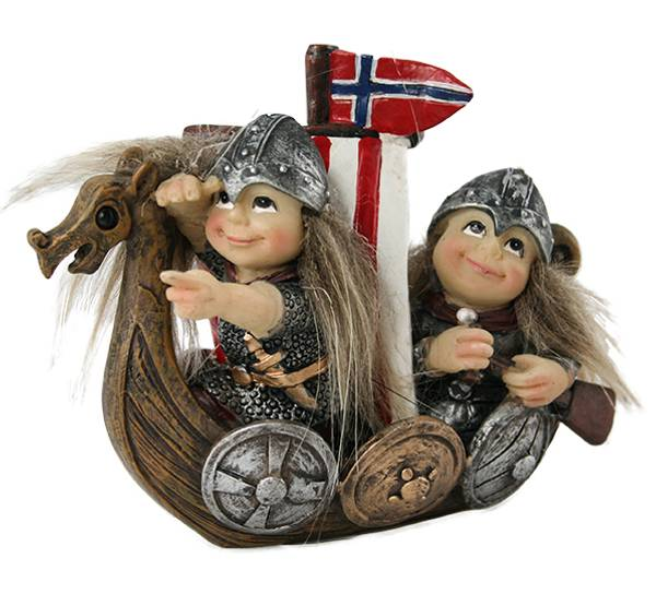 Image of Viking kids and ship with flag