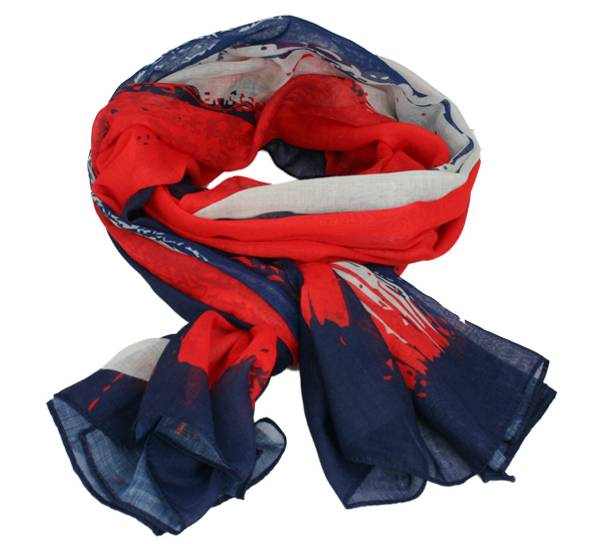 Image of Scarf with flag stripes, Norway red/white/blue