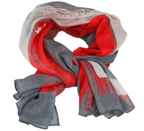 Image of Scarf with flag stripes, Norway red/white/grey