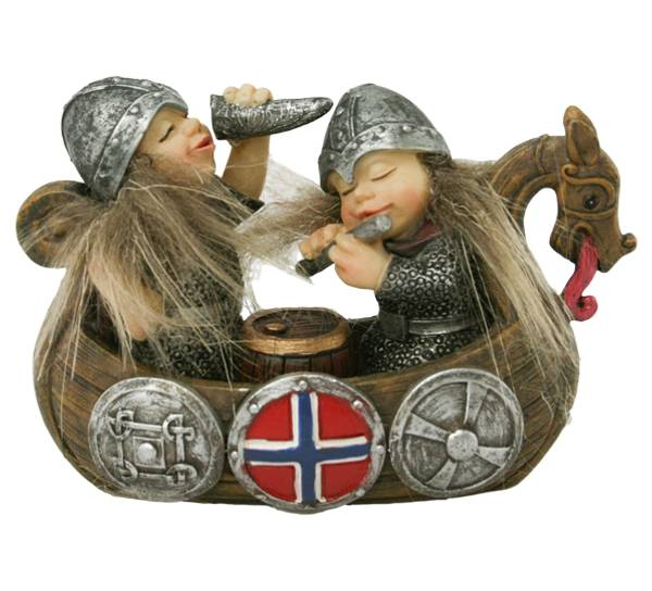 Image of Happy viking kids and a ship