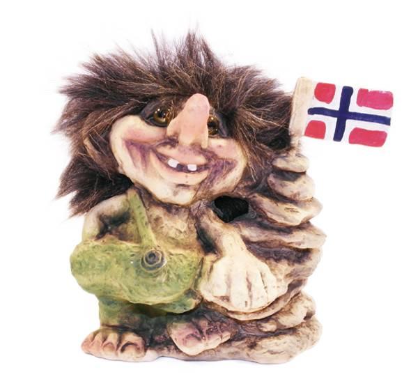 Image of Troll with rock,norwegian flag (Troll # 096)