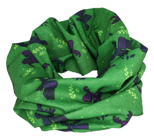 Image of Neck gaiter with playful moose  green/blue