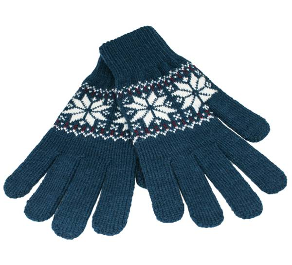 Image of Knitted gloves star pattern petrol