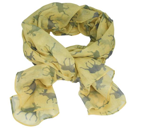 Image of Scarf with moose  light yellow/grey/green