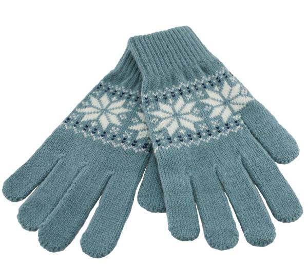 Image of Knitted gloves star pattern, blue/white