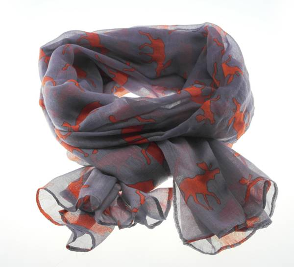 Image of Scarf with moose silhouettes grey/orange