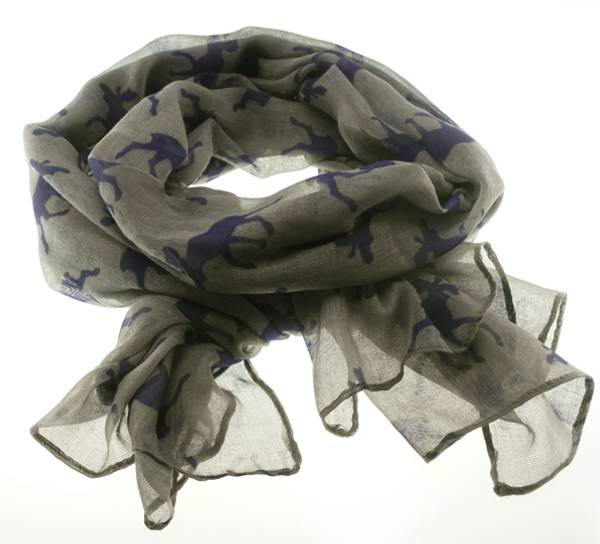 Image of Scarf with moose silhouettes grey/purple