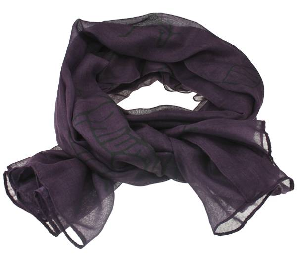 Image of Scarf with rock carving design Purple/grey