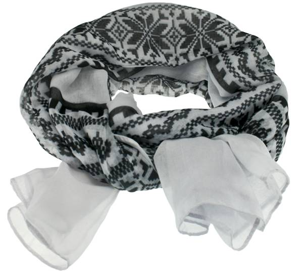 Image of Scarf with star design white/black