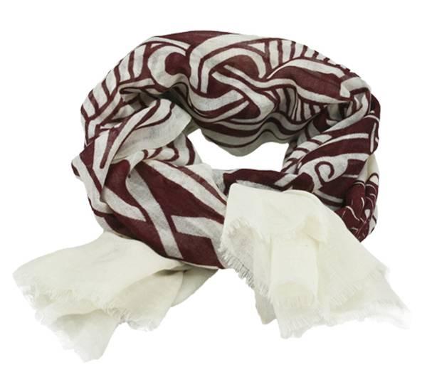 Image of Scarf, Viking pattern, white/ red, 100% wool