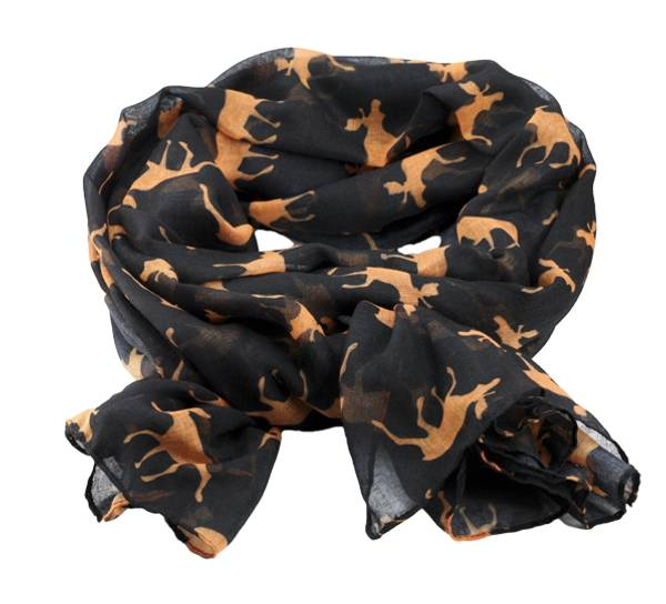 Image of Scarf with moose silhouettes black/orange