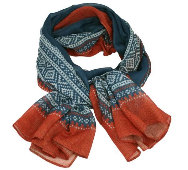 Image of Marius® scarf, petrol/white/rust
