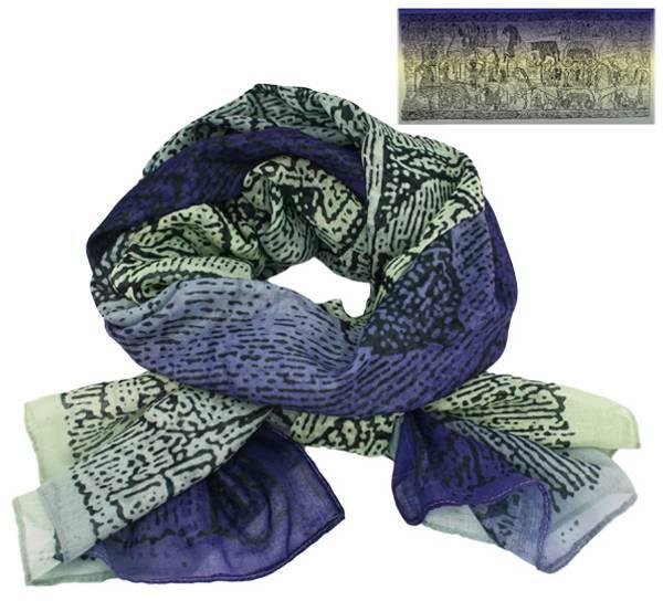 Image of Scarf, Oseberg carpet design, purple/light
