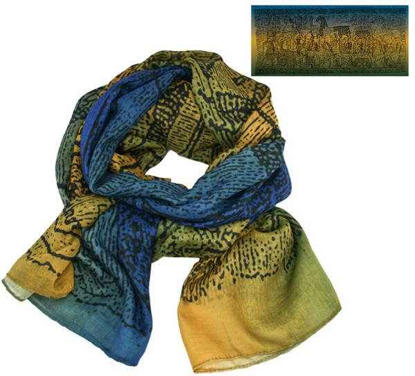 Image of Scarf, Oseberg carpet design, blue/yellow/green