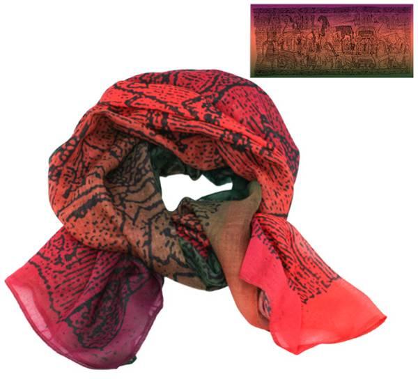 Image of Scarf, Oseberg carpet design, purple/orange/green