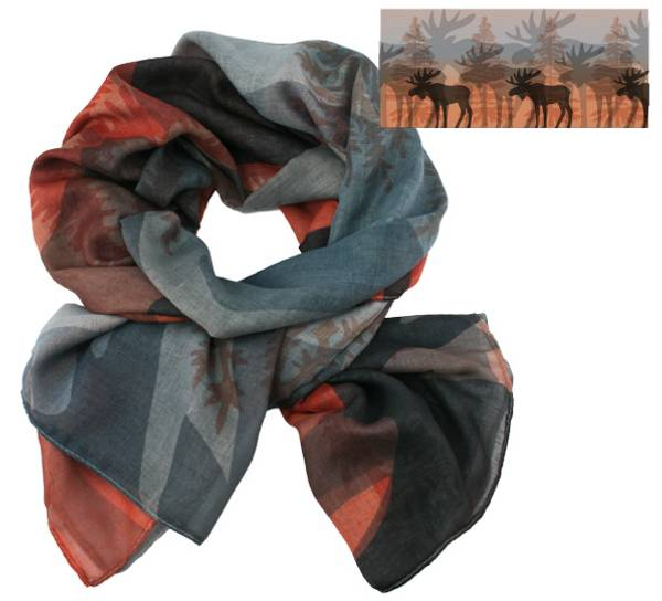 Image of Scarf, moose in the forest. Grey/orange