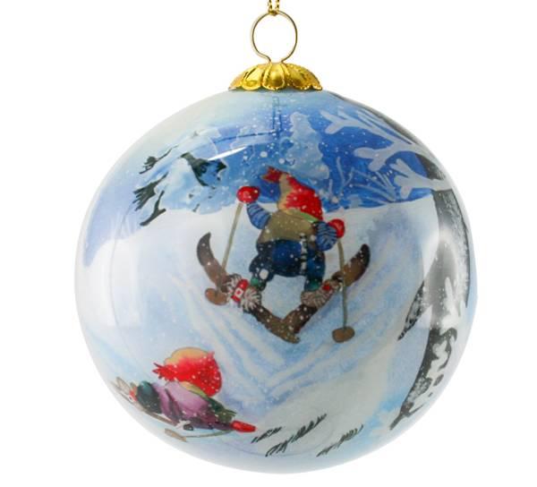Image of Glass ball, santa on skis