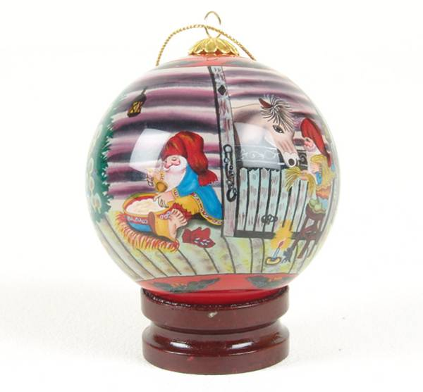 Image of Glass ball, santas in the barn