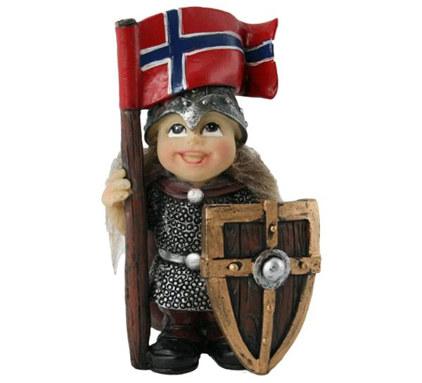 Image of Viking child with flag and shield