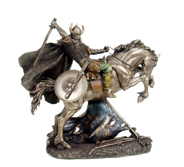 Image of Viking warrior on horse in battle