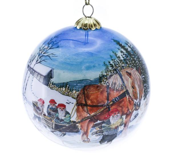 Image of Glass ball. Four santas on a sledge