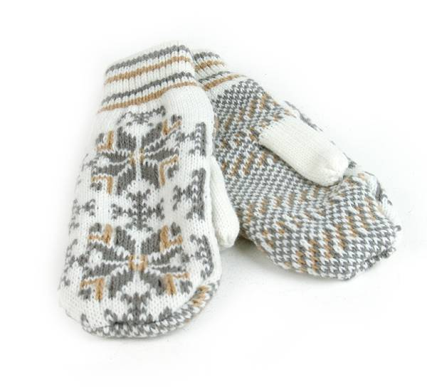 Image of Knitted mittens star pattern, white/grey/beig