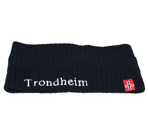 Image of Headband knitted w/flag, Trondheim dark navy blue