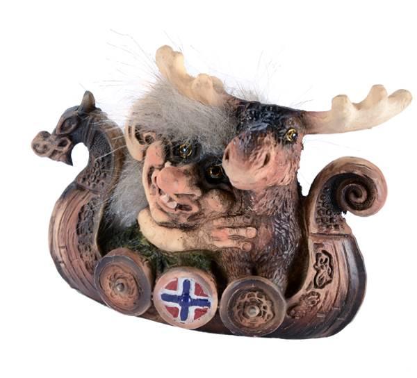 Image of Vikingship w/troll and moose (Troll # 156)