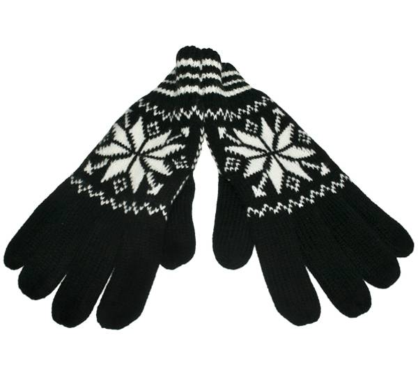 Image of Knitted gloves star pattern black/white