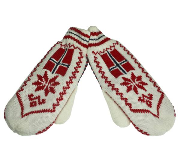 Image of Knitted mittens with flag and star white/red