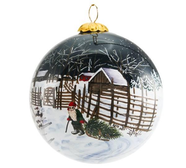 Image of Glass ball, santa with Christmas tree,