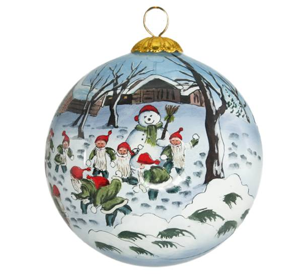 Image of Glass ball, santa playing with snow balls,