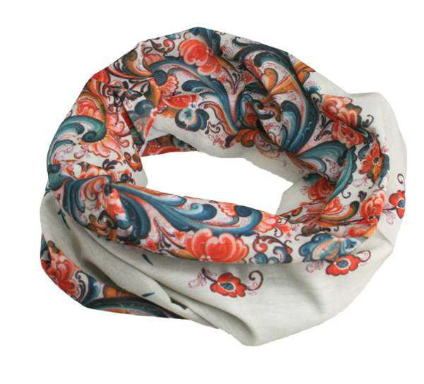 Image of Neck gaiter with rosemaling, offwhite