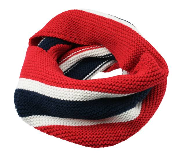 Image of Neck gaiter knitted with flag stripes,