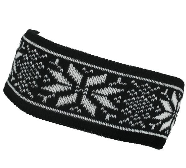 Image of Headband knitted starpattern Black/white