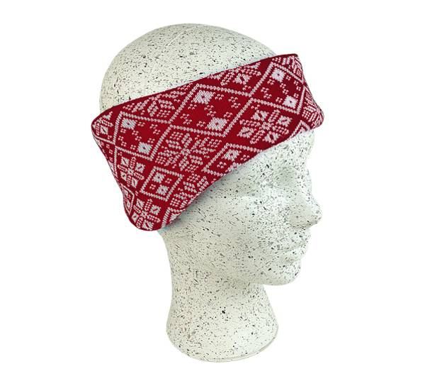 Image of Knitted headband red/white