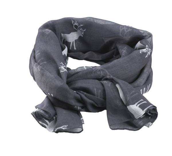 Image of Scarf with reindeer grey/white