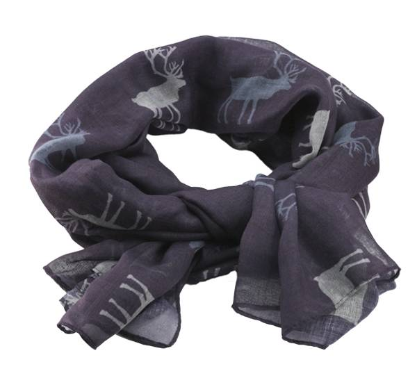 Image of Scarf with reindeer purple/white/grey
