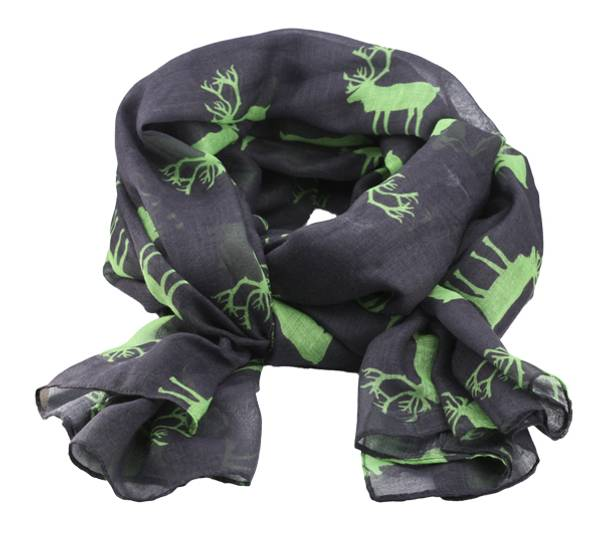 Image of Scarf with reindeer with reindeer grey/green