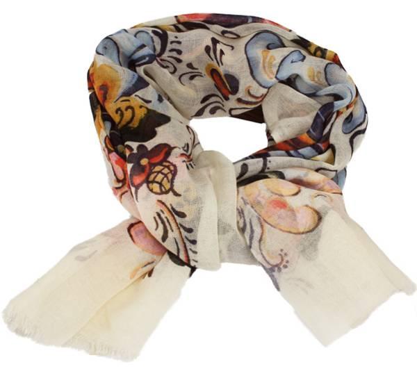 Image of Wool scarf Rosemaling beige