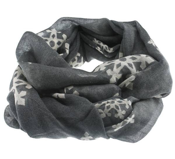 Image of Wool scarf snowflake gray