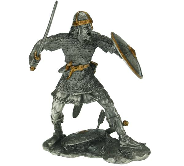 Image of Viking with sword and shield, pewter
