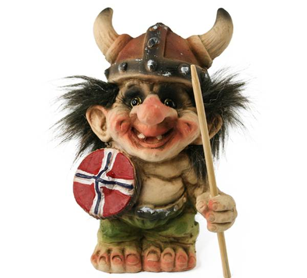Image of Troll with viking helmet, shield and spear(Troll