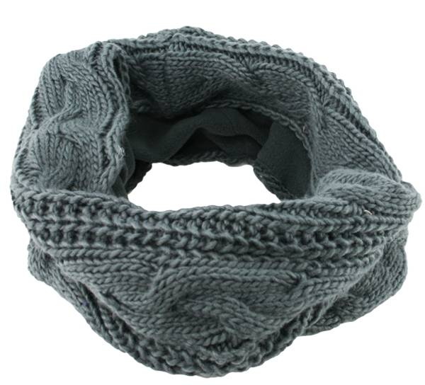Image of Neck gaiter knitted with braid pattern grey