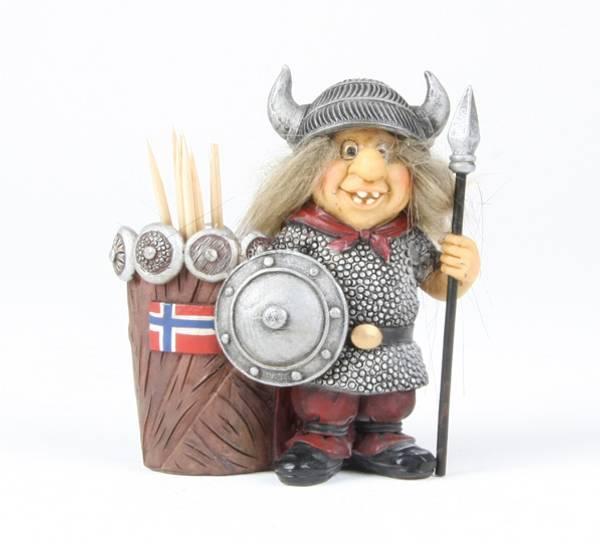 Image of Viking toothpick holder, Norwegian flag