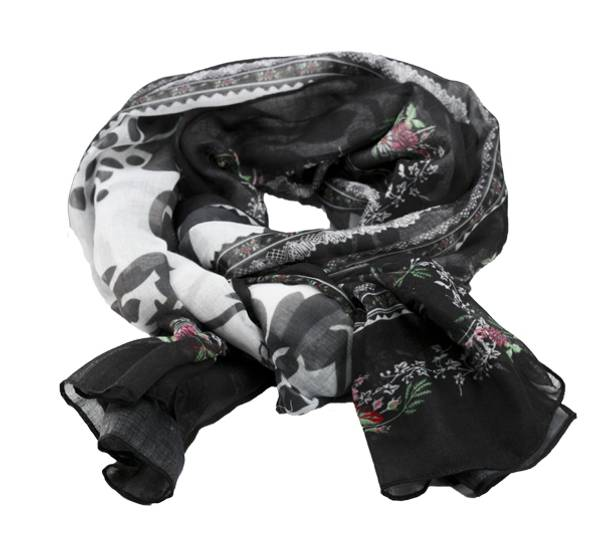 Image of Scarf in festive colors White/black/